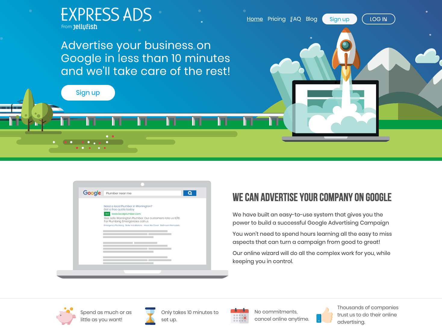 express ads website screenshot showing a landing page from a pay-per-click campaign
