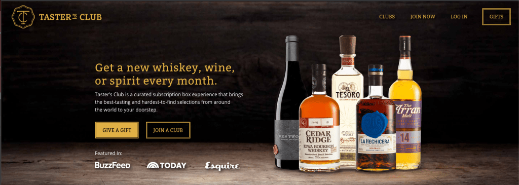 Landing page of a website with bottles of whiskeys, wines & spirits